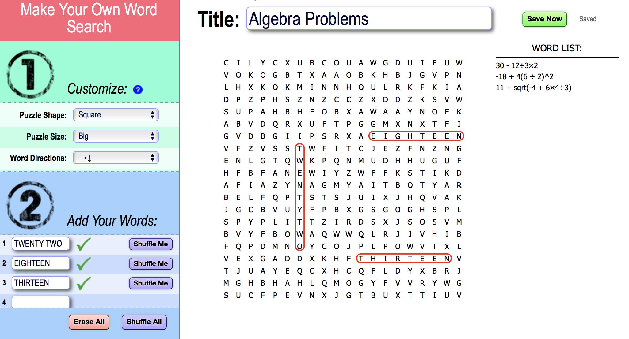algebra word searches